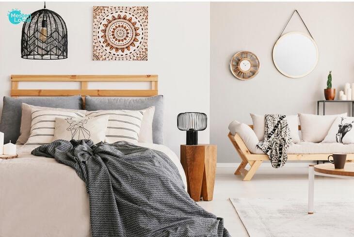 dormitor hygge canapea patura pat gri patura canapea