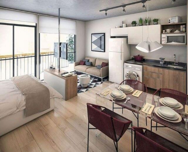 garsoniera minimalista dormitor living bucatarie open-space