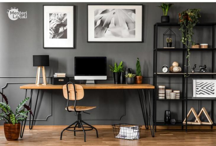 living birou modern masa masiva lemn rafturi depozitare