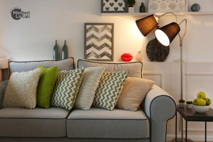 veioza lumina calduroasa canapea comfy perne multiple culori
