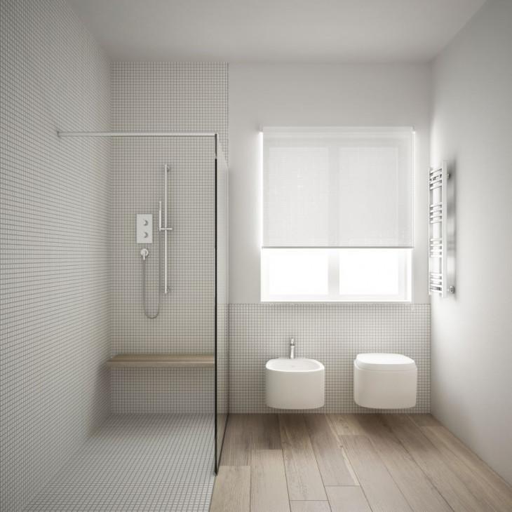 dus walk-in shower baie gresie lemn banca lemn