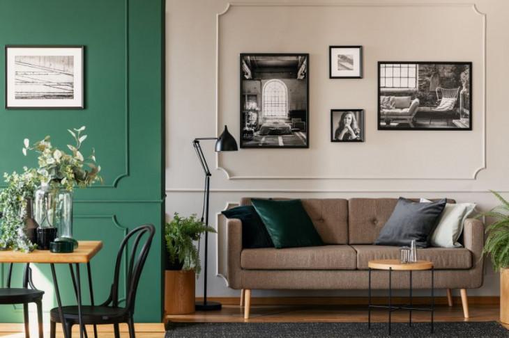 pereti panouri decorative imagini centrate rame tablou negre canapea maro