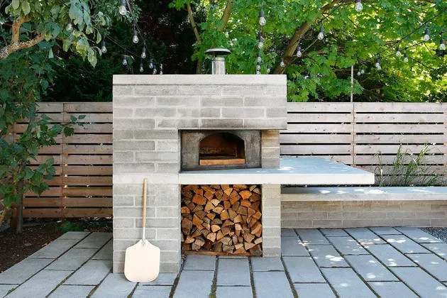 gratar de gradina din beton stil modern cuptor
