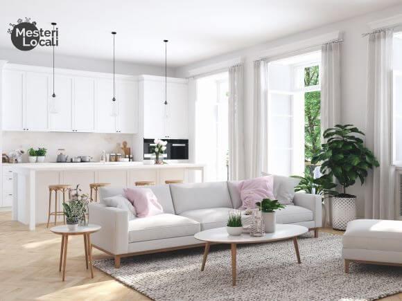 living room open space mobilier alb lemn deschis